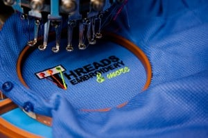 Threads Embroidery Austin shop. Embroidering your left chest design.